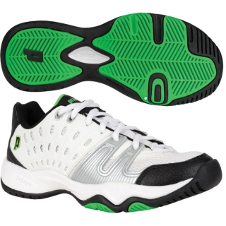 Prince Junior's T22 Tennis Shoe (White/ Black/ Green)