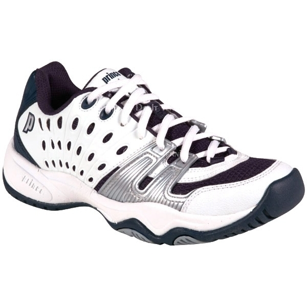 Prince Junior's T22 Tennis Shoe (White/Navy/Silver)