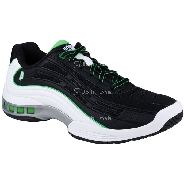 Prince Men's Rebel LS Tennis Shoe (Black/White/Green)