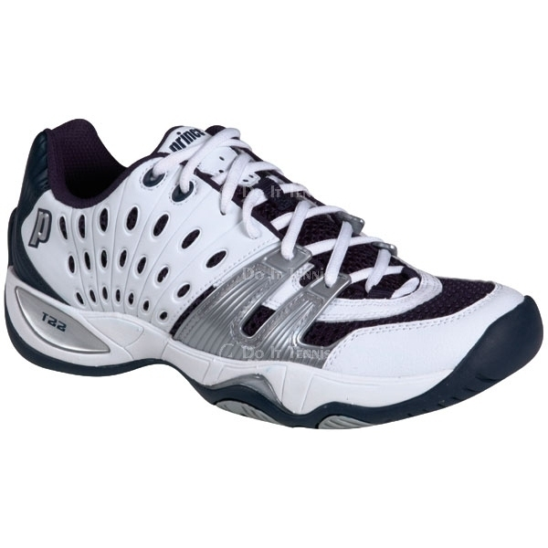 Prince Men's T22 Tennis Shoe (White/Navy/Silver) (Team)