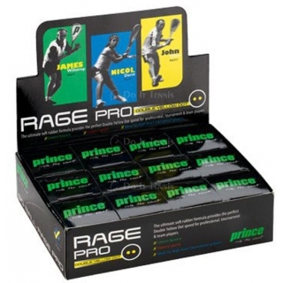Prince Rage Double Yellow Dot 12-Pack Squash Balls