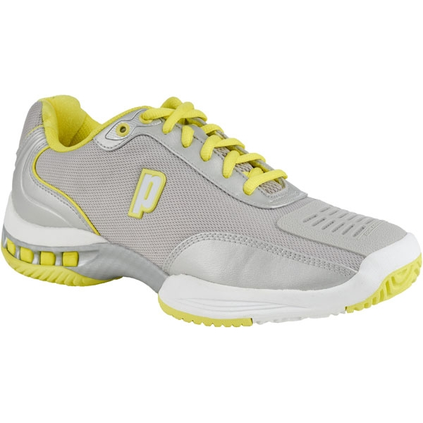 Prince Women's Rebel 2 LS Tennis Shoes (Silver/ Yellow)