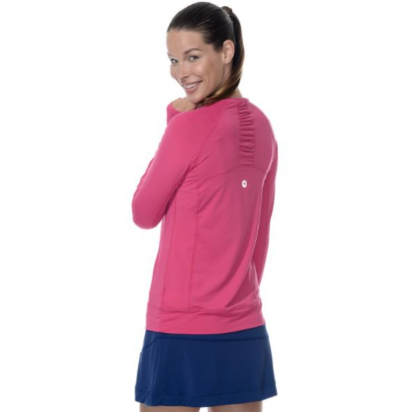 Bloq-UV Long Sleeve Tennis Pullover (Passion Pink)