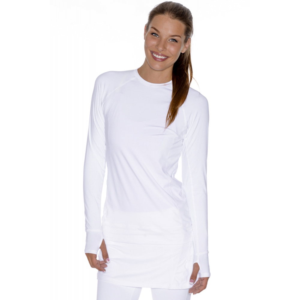 Bloq-UV Long Sleeve Tennis Pullover (White)