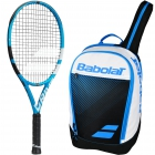 Babolat Pure Drive Junior 26 InchTennis Racquet, Blue Club Tennis Backpack Bundle - Red, White & Blue Junior Tennis Equipment