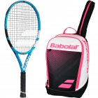 Babolat Pure Drive Junior 26 Inch Tennis Racquet, Pink Club Tennis Backpack Bundle - Junior Bundle Packs