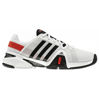 Adidas Men's Barricade 8 Tennis Shoes (White/ Black/ Red)