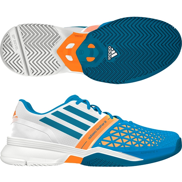 Adidas Men's CC adiZero Feather III Tennis Shoes (Blue/ White/ Orange)