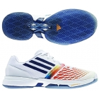 Adidas Women's CC adiZero Tempaia III Tennis Shoes (White/Blue/Orange) - Lightweight Tennis Shoes