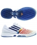 Adidas Women's CC adiZero Tempaia III Tennis Shoes (White/Blue/Orange) - Shoes