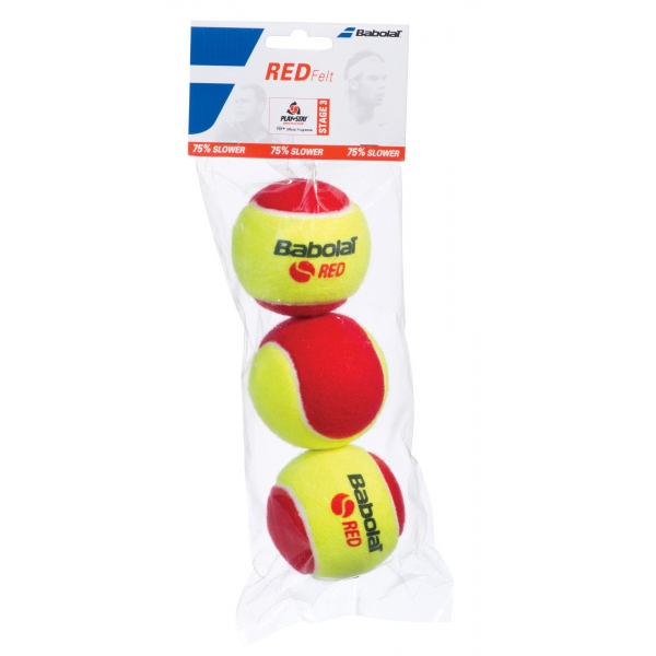 Babolat Kids Stay and Play Red Felt Tennis Ball (3 Balls)