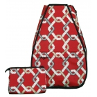 40 Love Courture Red Rope Elizabeth Tennis Backpack - Designer Tennis Bags - Luxury Fabrics and Ultimate Functionality