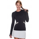 Bloq-UV Long Sleeve Reflective Waist Tennis Top (Black) - Women's Warm-Ups