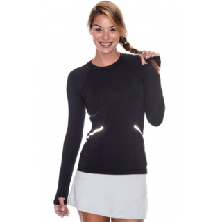 Bloq-UV Long Sleeve Reflective Waist Tennis Top (Black)