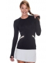 Bloq-UV Long Sleeve Reflective Waist Tennis Top (Black) - Women's Tops