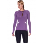 Bloq-UV Long Sleeve Reflective Waist Tennis Top (Purple) - Women's Warm-Ups