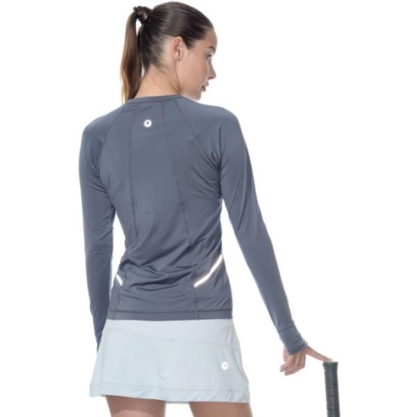 Bloq-UV Long Sleeve Reflective Waist Tennis Top (Smoke)