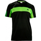 Adidas Men's Galaxy Crew (Black/ Solar Green) - Men's Tops T-Shirts & Crew Necks Tennis Apparel