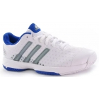 Adidas Barricade Team 4 xJ Tennis Shoes (White/ Metallic/ Blue) - Tennis Shoes for Kids