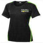 Pickleball Rocks Women's Dri Fit Top (Black/Lime Green) - Tennis Court Equipment