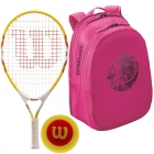 Wilson Serena Williams Jr. Racquet, Pink Backpack, Red Foam Balls - Junior Tennis Racquet + Bag + Ball Bundles