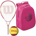 Wilson Serena Williams Jr. Racquet, Pink Backpack, Red Felt Balls - Junior Tennis Racquet + Bag + Ball Bundles