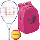 Wilson Serena Williams Jr. Racquet, Pink Backpack, Orange Balls - Junior Tennis Racquet + Bag + Ball Bundles