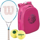 Wilson Serena Williams Jr. Racquet, Pink Backpack, Green Dot Balls - Junior Tennis Racquet + Bag + Ball Bundles
