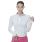 Bloq-UV Mock Zip Long Sleeve Top (Soft Gray) - Women's Outerwear