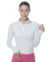 Bloq-UV Mock Zip Long Sleeve Top (Soft Gray) - Women's Warm-Ups