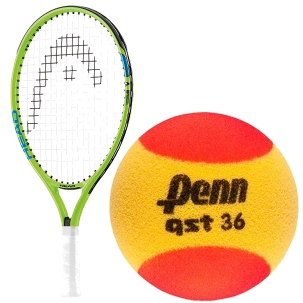 HEAD Speed Junior Tennis Racquet bundled with Penn QST 36 Red Foam Tennis Balls
