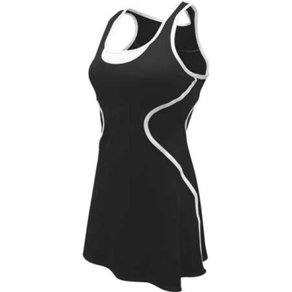 SSI Women's Sophia Racer Back Tea Tennis Dress (Black/White)