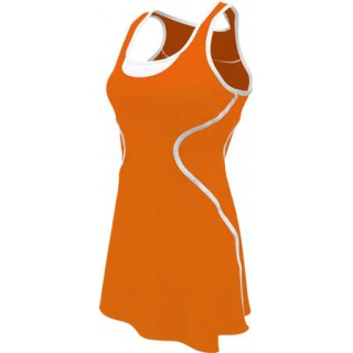 SSI Women's Sophia Racer Back Team Tennis Dress (Orange/White)