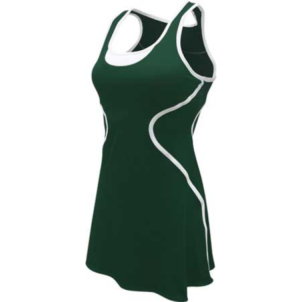 SSI Women's Sophia Racer Back Team Tennis Dress (Pine/White)