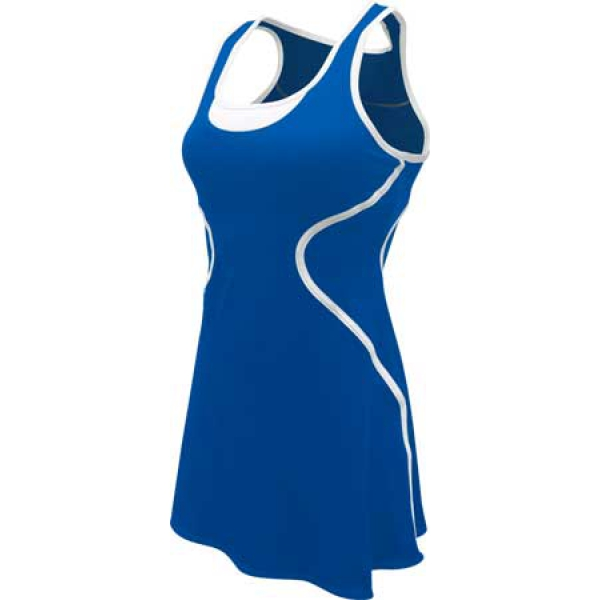 SSI Women's Sophia Racer Back Team Tennis Dress (Royal/White)