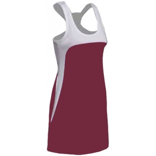 SSI Women's Amy Racer Back Tennis Dress (White/ Burgundy)