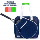 Ame & Lulu Sweet Shot Tennis Tote w/Handle Caps (Navy/White) - Ame & Lulu Sweet Shot Tennis Tote