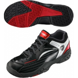 Yonex Junior Power Cushion 308 Tennis Shoes (Black/Red)