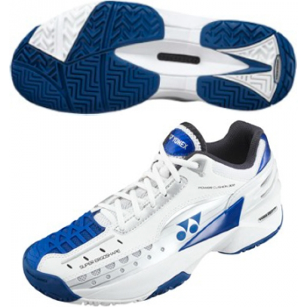 Yonex Men's Power Cushion 308 Tennis Shoes (White/Blue)