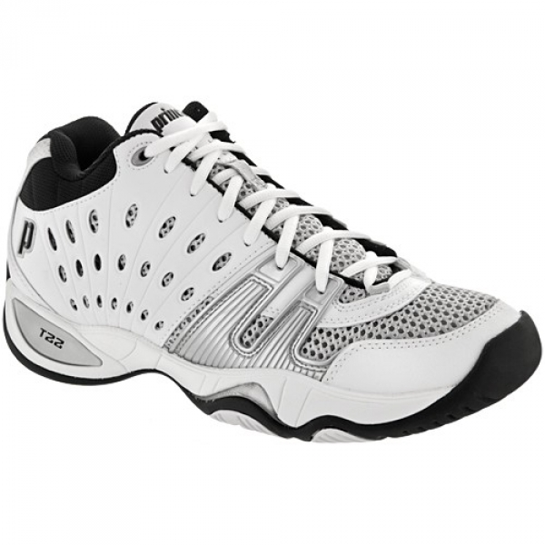 Prince Men's T22 Mid Tennis Shoes (White/ Black/ Silver)