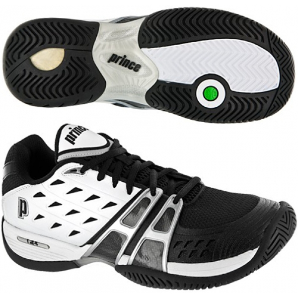 Prince Men's T24 Tennis Shoe (Wht/ Blk/ Sil)