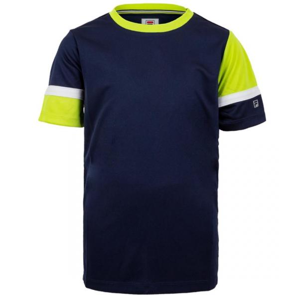 Fila Boy's Core Performance Doubles Tennis Crew (Navy/Acid Lime/White)