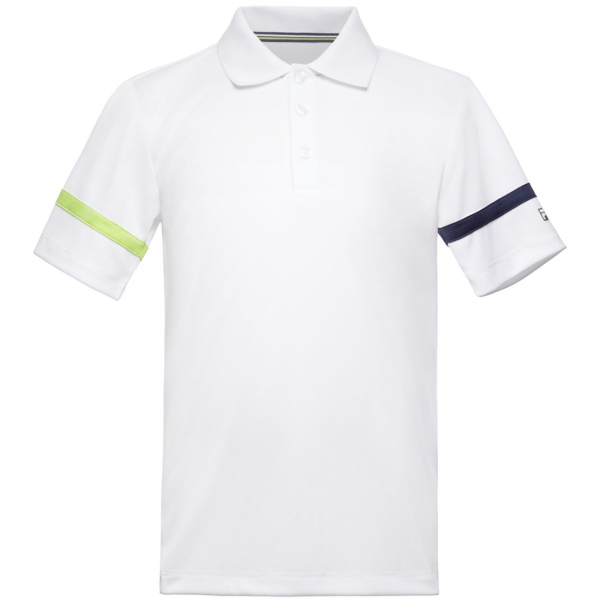 Fila Boy's Core Performance Tennis Polo (White/Navy/Acid Lime)