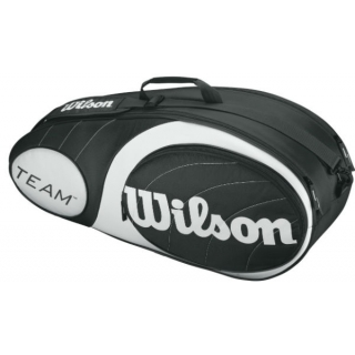 Wilson Team Black/Silver Collection 6 Pack Tennis Bag (Black/ Silver)