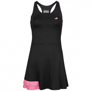 Babolat Women's Compete Tennis Dress w/ Performance Polyester (Black/Geranium Pink)