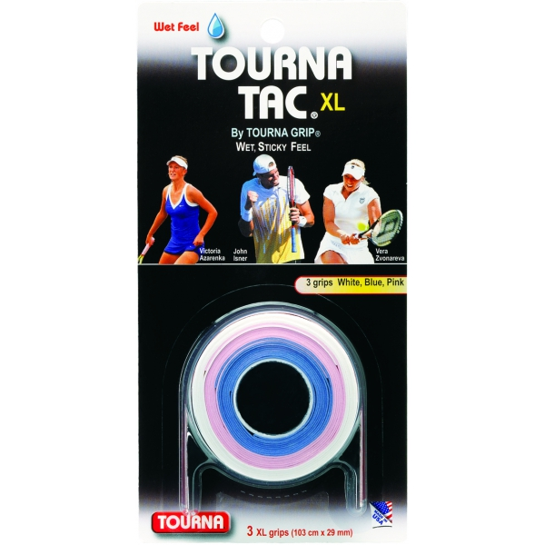 Tourna Tac XL White/Blue/Pink Overgrip (3 Pack)