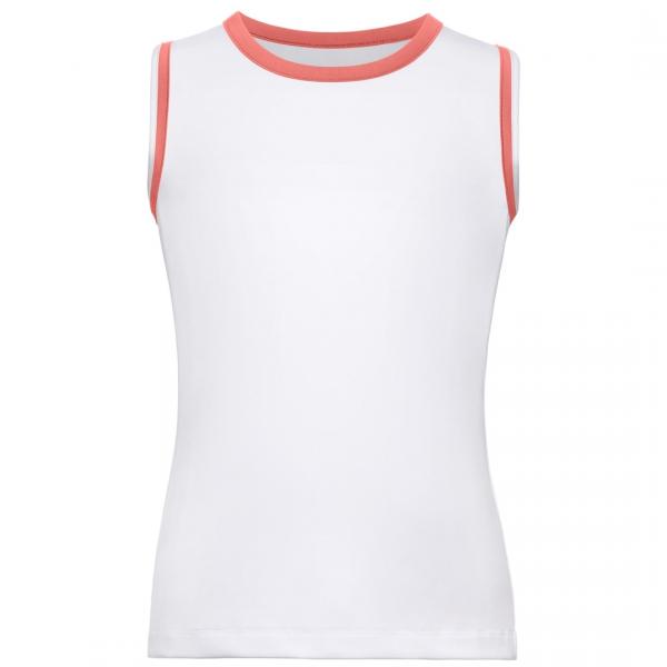 Fila Girl's Core Performance Full Back Tennis Tank (White/Calypso Coral)
