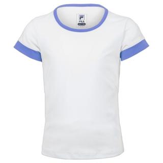 Fila Girl's Core Performance Short Sleeve Tennis Top (White/Amparo Blue)