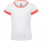 Fila Girl's Core Performance Short Sleeve Tennis Top (White/Calypso Coral) - Girl's Tennis Apparel