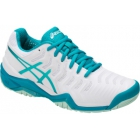 Asics Women's Gel Resolution 7 Tennis Shoes (White/Arctic Aqua/Glacier Sea) - Asics Gel-Resolution Tennis Shoes